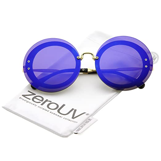 a100e0dd73 zeroUV - Bold Oversize Rimless Round Circle Color Mirrored Flat Lens  Sunglasses 65mm (Gold