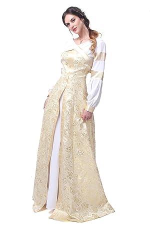 2712fcade2c8d Nuoqi Womens Palace Vintage White Mixed Golden V-neck Dress Metallic  Jacquard Maxi Dresses L: Amazon.co.uk: Toys & Games