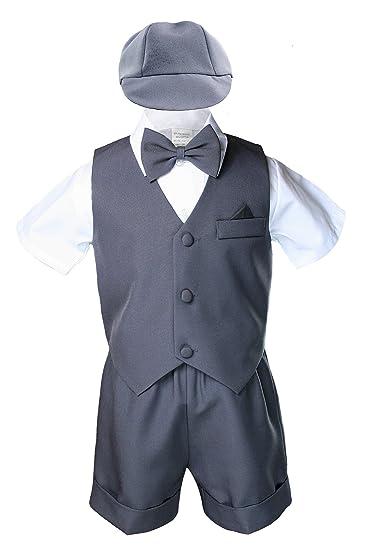 86e8472d7 Amazon.com  Dark Gray Baby Boy Toddler Eton 5pc Formal Vest Shorts ...