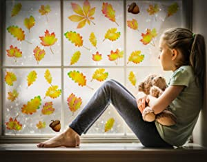 PUGED Autumn Fall Leaves Window Clings Reusable and Removable No Glue Static Decal Stickers for Party Glass Decorations 4 Sheets