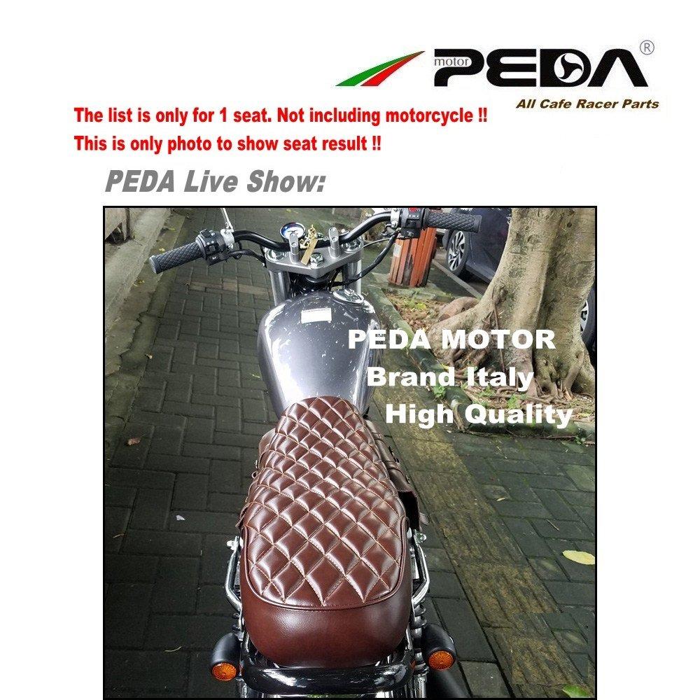 PEDA Cafe Racer Seat Vintage 64cm Brat Diamond Flat Checkered Pattern Long Seats For Honda Yamaha Suzuki Kawasaki Motorcycle Saddle