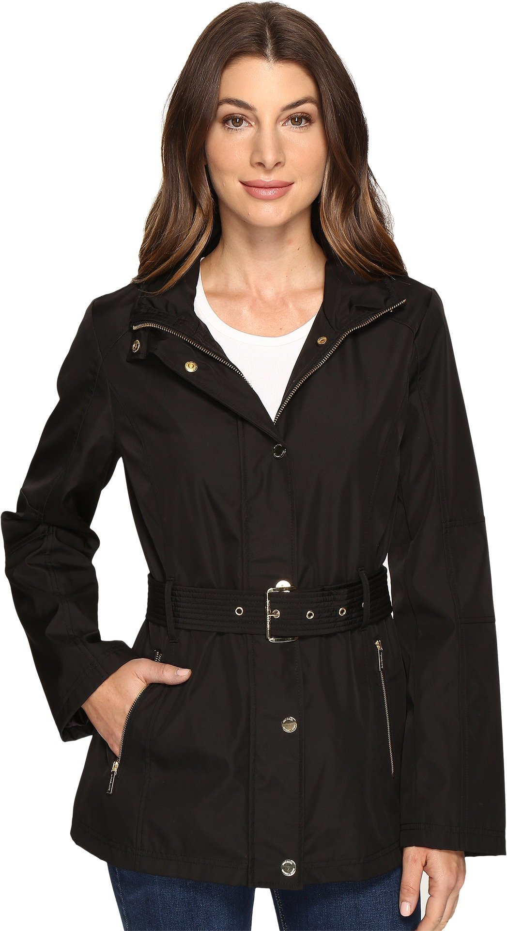 MICHAEL Michael Kors Women's Belted Snap Front Jacket M322119R74 Black Jacket by MICHAEL Michael Kors