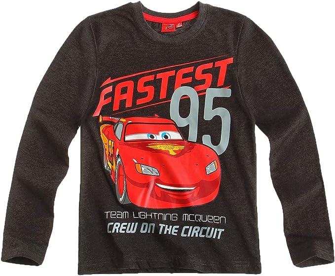 Cars T-Shirt Manches Longues Enfant gar/çon Gris de 3 /à 8ans
