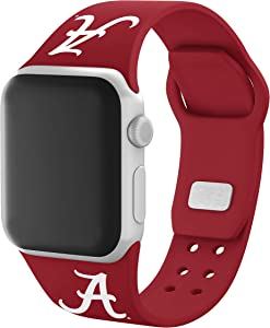 AFFINITY BANDS Alabama Crimson Tide Silicone Sport Watch Band Compatible with Apple Watch (42mm/44mm - Crimson Red)