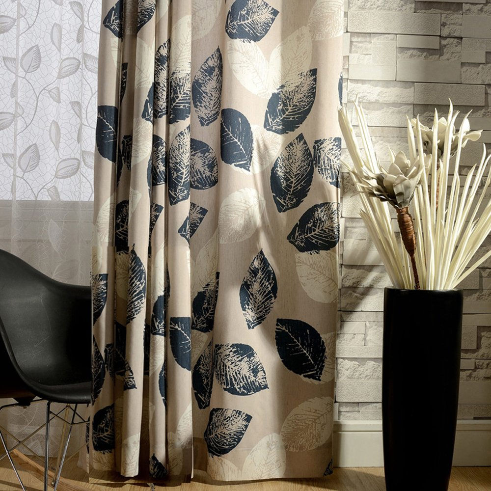 Blackout Lined Curtains Navy Blue Leaf Drapes - Anady Grommet 2 Panel Design Window Curtains Modern Drapes