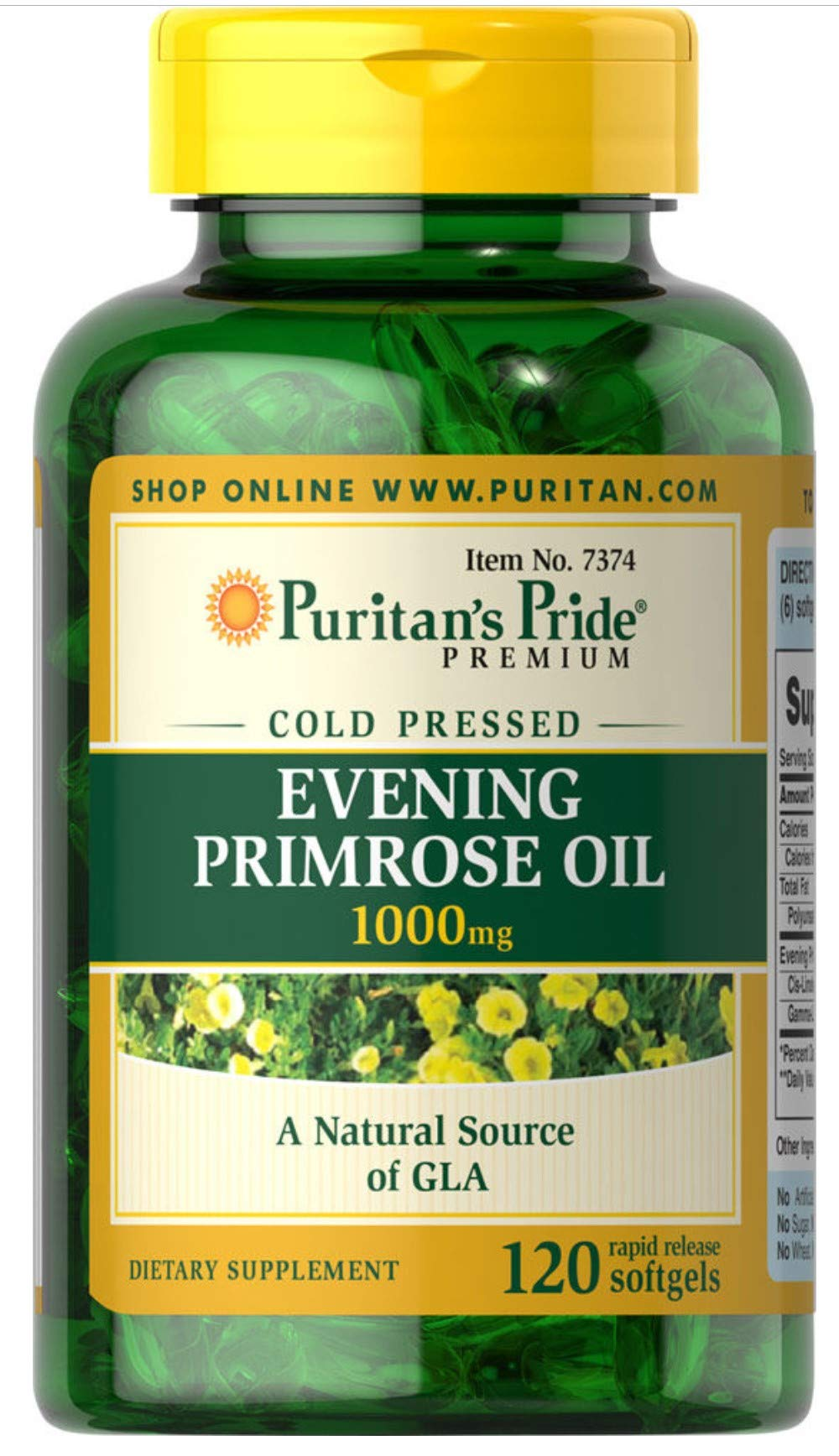 Puritan's Pride Evening Primrose Oil 1000 mg with GLA -120 Softgels by Puritan's Pride