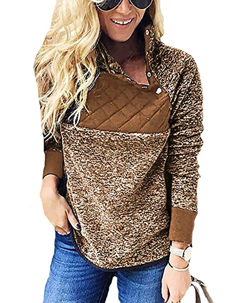 981d6c1f6e3 OURS Women s Warm Long Sleeve Snap Neck Pullover Blouses Tops Coffee M