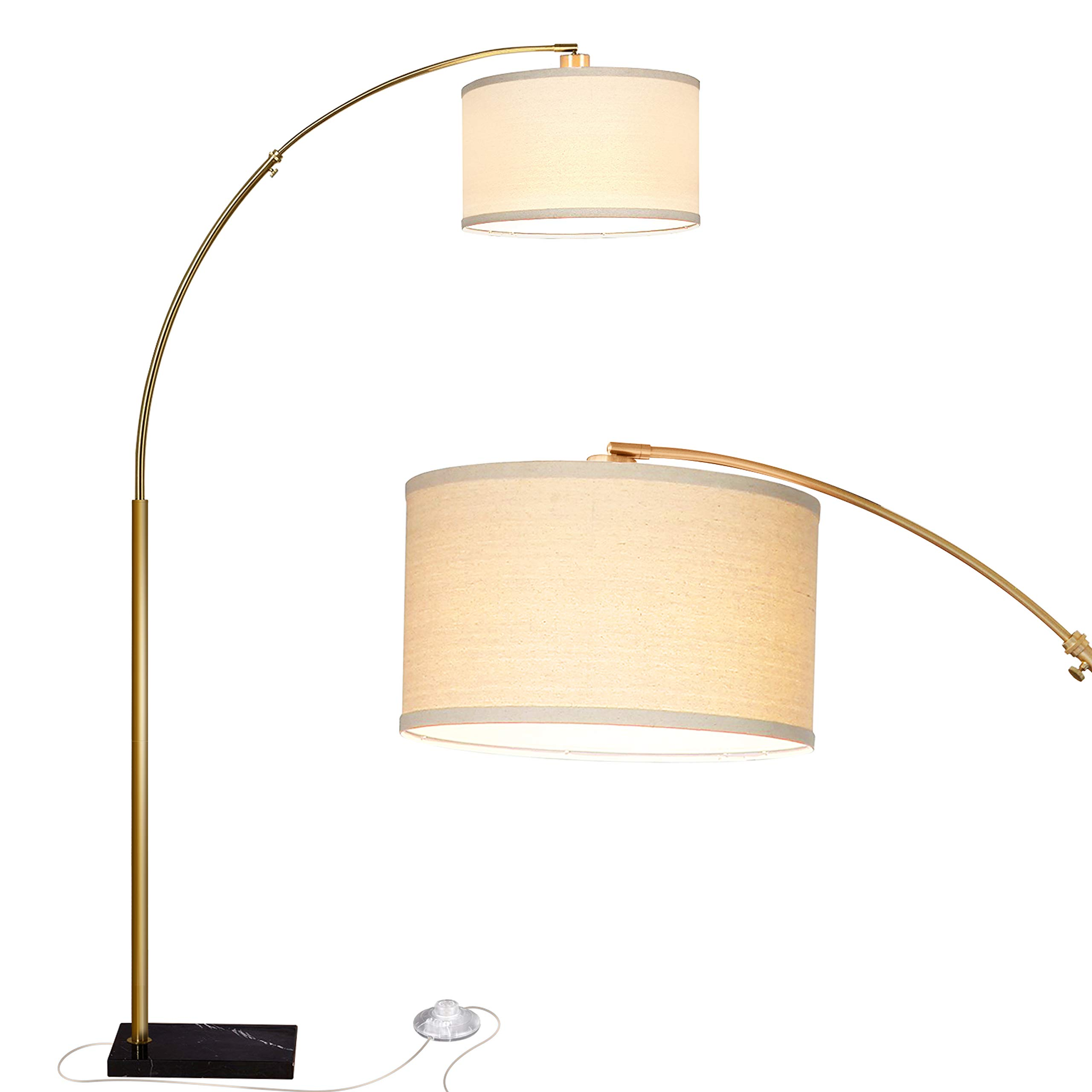 Brightech Logan LED Arc Floor Lamp with Marble Base - Living Room Lighting for Behind The Couch - Modern, Tall Standing Hanging Light - Brass/Gold by Brightech