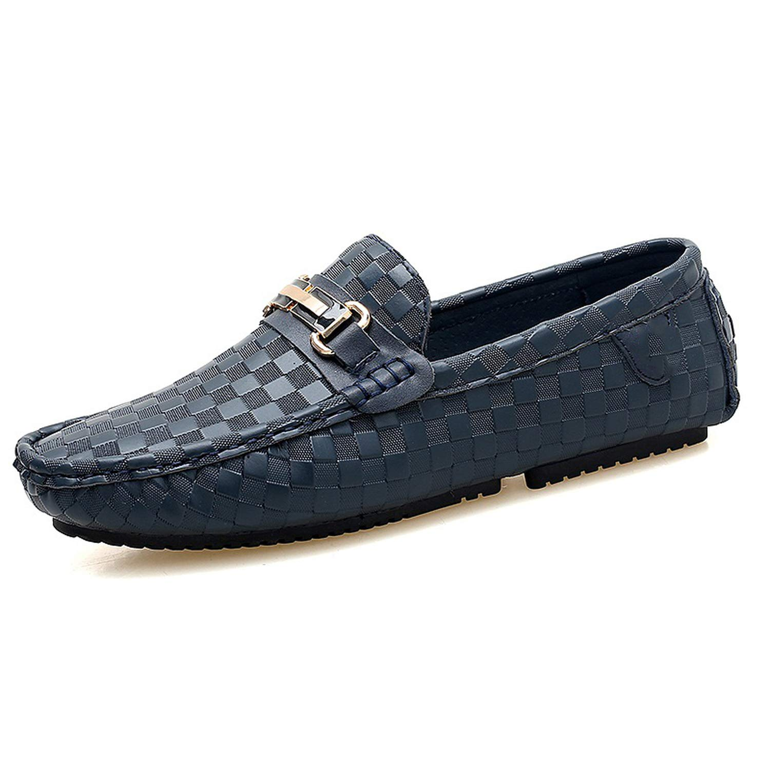 Stay With Me New Big Size Genuine Leather Driving Shoes Men's Office Leisure Leather Doug Shoe Male Flat Loafers Luxury Footwear,Blue,7.5 by Stay With Me