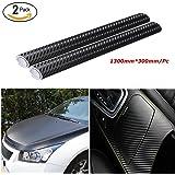 Audew Pellicola 3D Carbonio Pack 2 Stickers Adesiva Foglio Nero Wrapping Auto Moto Tuning 1300X300mm/Pack