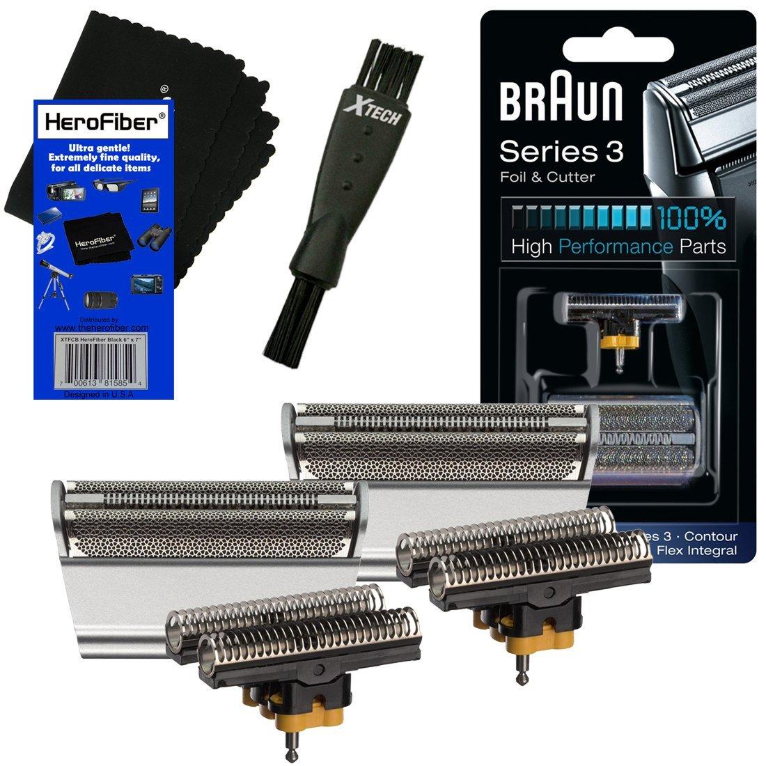 Braun Combi 31S Foil & Cutter Replacement Set, silver (2 pack) for Select Series 3, Contour, Flex XP, Flex integral (5000/6000) Shavers + Double Ended Shaver Brush + HeroFiber Gentle Cleaning Cloth