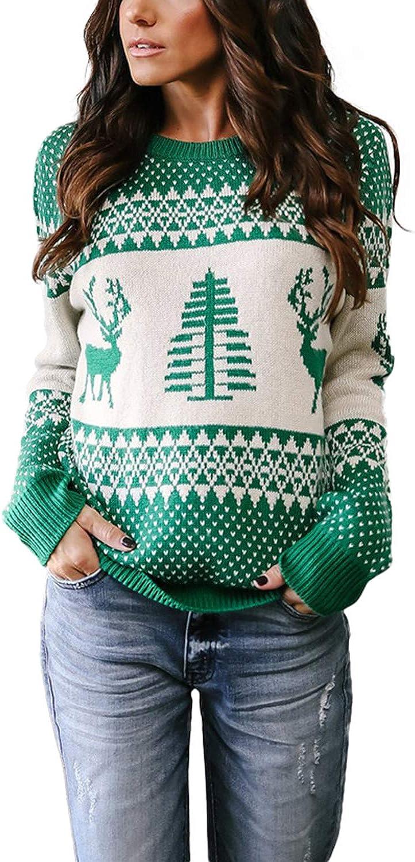 YOINS Jersey de punto para mujer, parte superior de Navidad, patrón de renos, jersey de punto de invierno, manga larga, cuello redondo, para Navidad