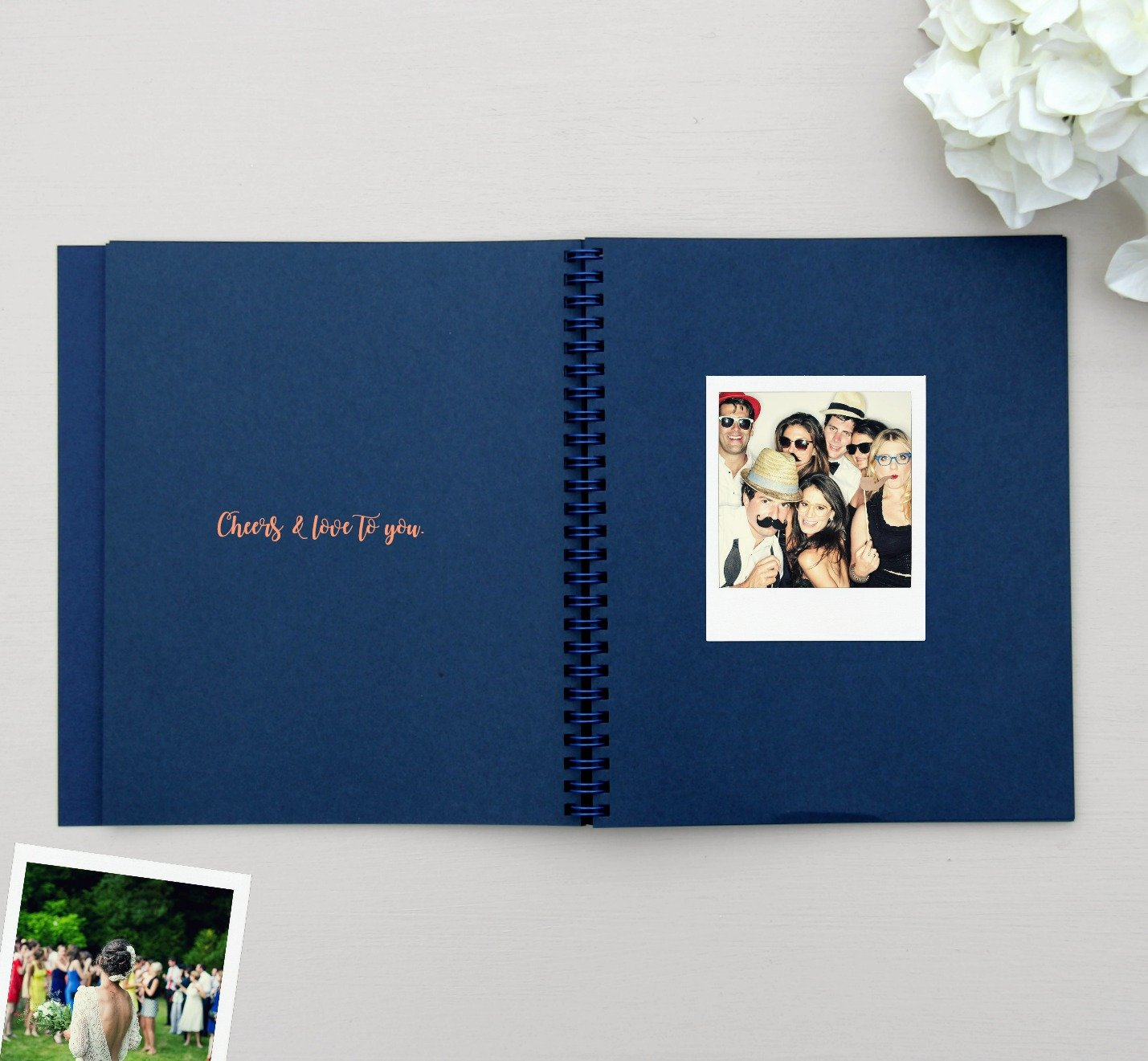 Polaroid Wedding Guest Book.Wedding Guest Book Polaroid Guest Book 8 5x7 Flat Lay Navy Rose Gold Wedding Guestbook Bridal Shower Guest Book Alternative Instax Guestbook