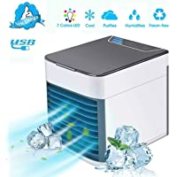 Personal Air Cooler Fan, Portable Air Conditioner, Humidifier, Purifier 3 in 1 Evaporative Cooler with 3 Speed, Mini AC…