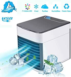 Personal Air Cooler Fan, Portable Air Conditioner, Humidifier, Purifier 3 in 1 Evaporative Cooler with 3 Speed, Mini AC USB Cooling Desktop Fan for Bedroom, Travel, Office