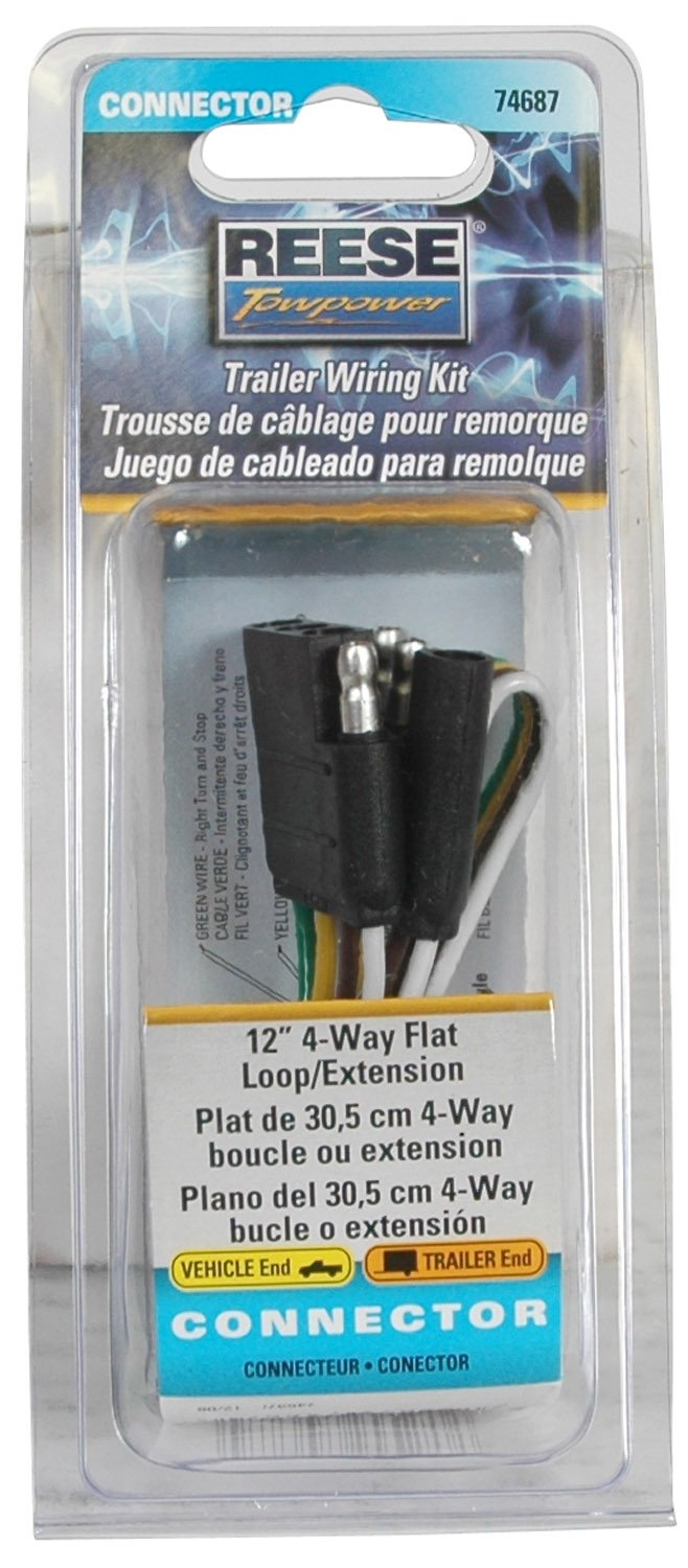 Reese Towpower 74689 48 4 Way Flat Loop Wiring Phone Extension Connector Automotive