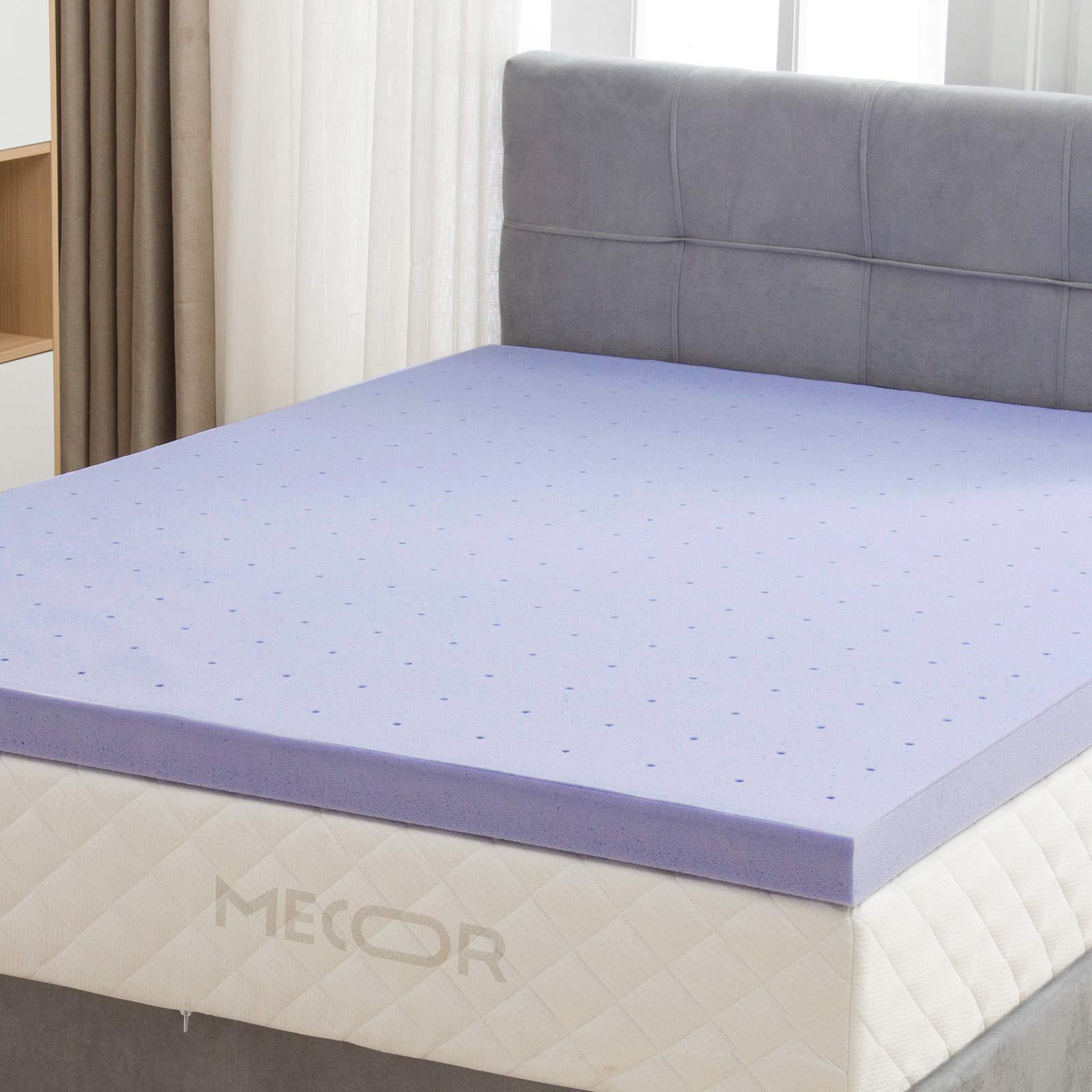 Mecor 4 Inch 4'' Queen Size Gel Infused Memory Foam Mattress Topper - Ventilated Design, CertiPUR-US Certified Foam, Queen/Purple