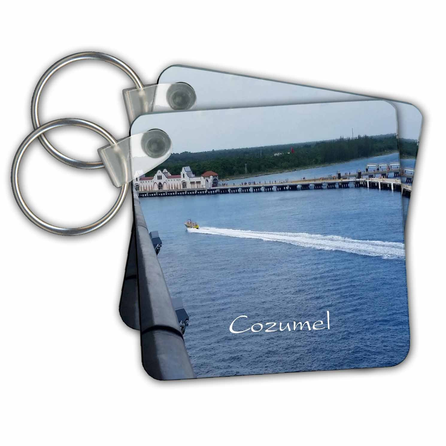 3dRose Image of Entering Cozumel Mexico Port - Key Chains, 2.25'' x 2.25'', Set of 2 (kc_253687_1)