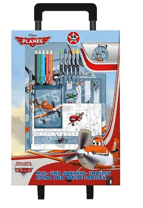 Planes - Mochila con carro y set de dibujo 38 x 27 cm (Kids PL13807ES
