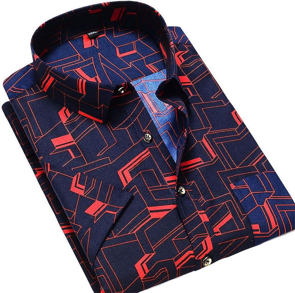 Camisas de Ocio para Hombres Camisa de Manga Corta Blusas Sueltas Impresión Creativa Bolsillo con Solapa Botón Completo Ropa Fiesta Diario Casual Camisas de Vestir de Negocios