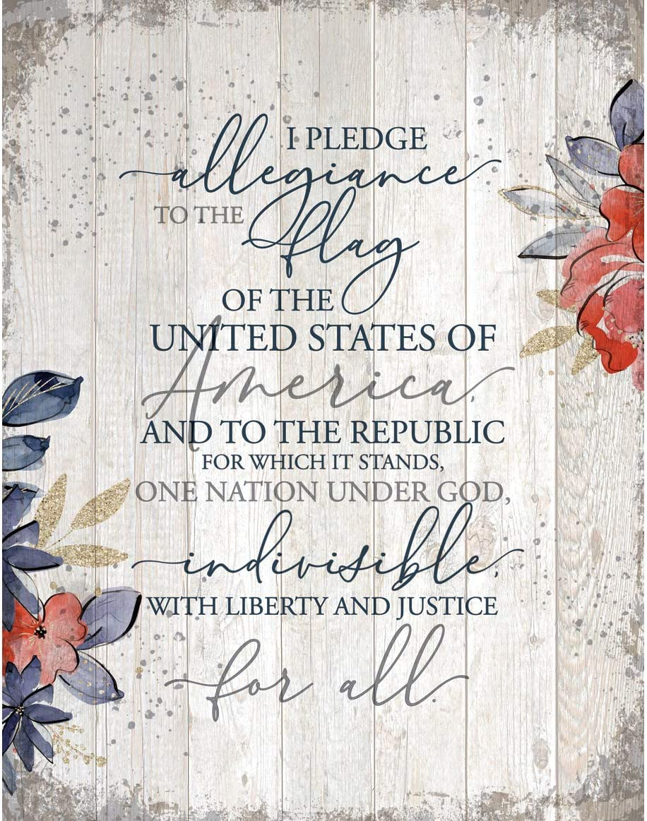 I Pledge Allegiance to The Flag of The United States of America Wood Plaque Inspiring Quote 11.75 in x 15 in - Vertical Frame Wall Hanging Decoration | Christian Family Religious Home Decor Saying