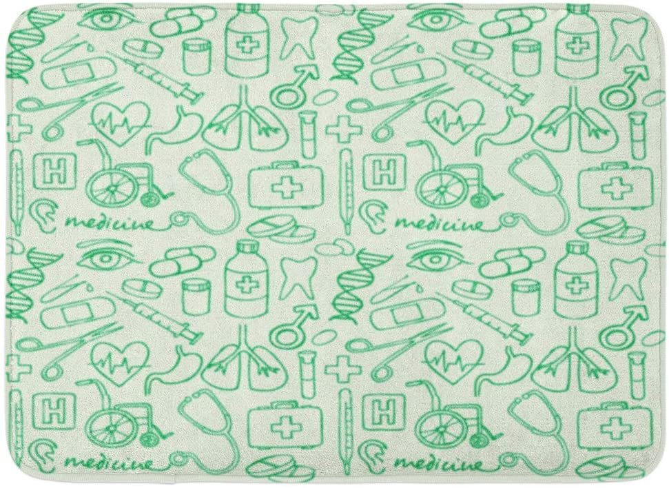 Rongpona Alfombrilla de baño Cirugía Doctor Doodle Medicina Boceto médico Silla de Ruedas Pulmones Ayuda Sanitaria Baño Decoración Alfombra