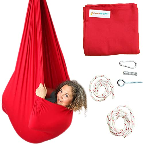 DreamGYM Sensory Swing 95 Cotton Hardware Included X-Large Therapy Swing for Kids and Adults