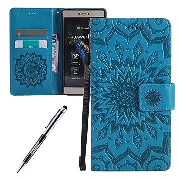 Funda Huawei P8, Carcasa Huawei P8, JAWSEU Huawei Ascend P8 Tapa Trasera Carcasa Diseño Floral en Relieve Cuero Billetera PU Leather Premium y Suave ...