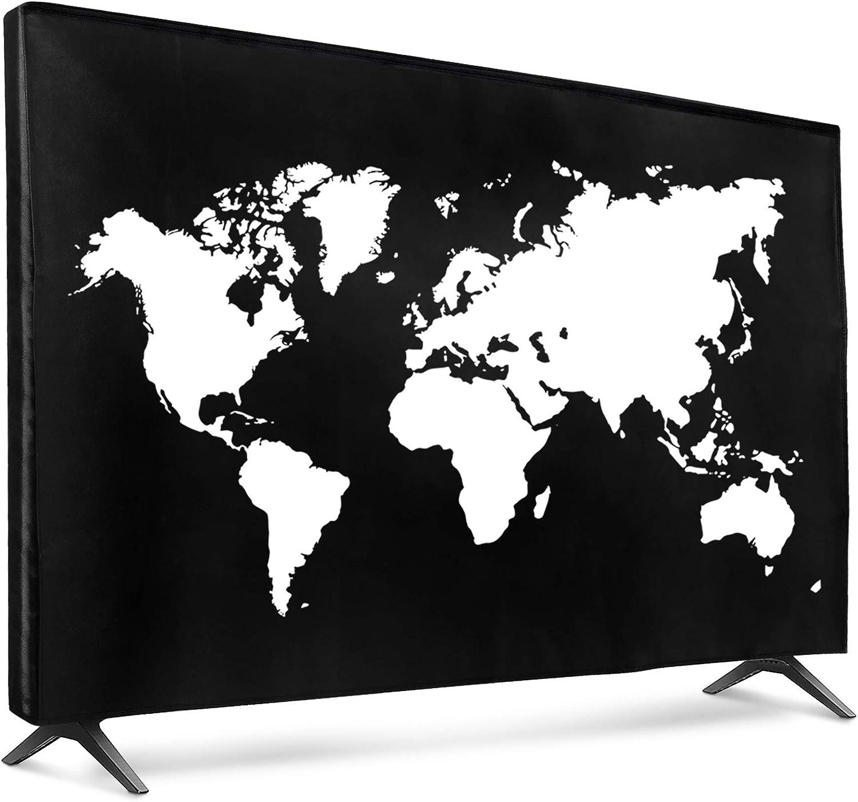 "kwmobile Dust Cover for 43"" TV - Flat Screen TV Protector - Travel Outline White/Black"