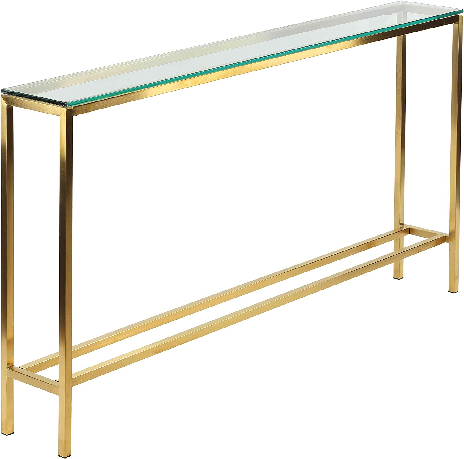 Cortesi Home Juan Console Table Skinny 56 X 8 Brushed Gold Color With Clear 10mm Glass Ch At656930 Furniture Decor