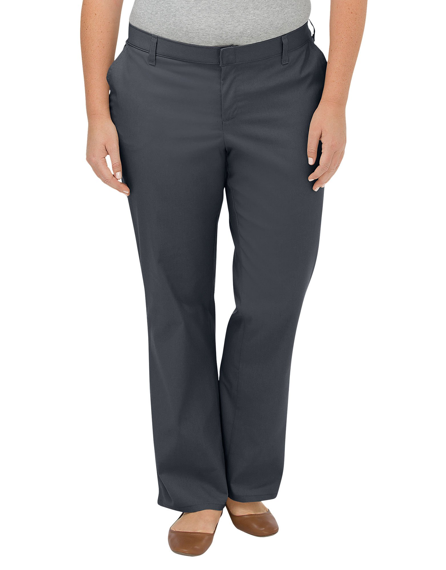 Dickies Women's Plus-Size Wrinkle Resistant Flat Front Twill Pant with Stain Finish Charcoal 18W Unhemmed