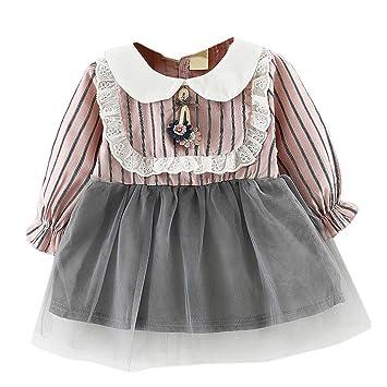 Remoción bestoppen bebé niñas vestido de princesa de, rayas de encaje diseño de manga larga