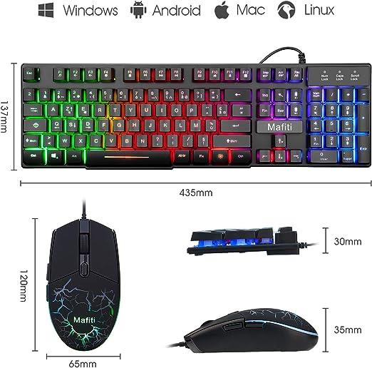 Mafiti RK101 - Conjunto de teclado y ratón para gamer (USB con cable, versión francesa), tres colores LED retroiluminados para trabajar o jugar