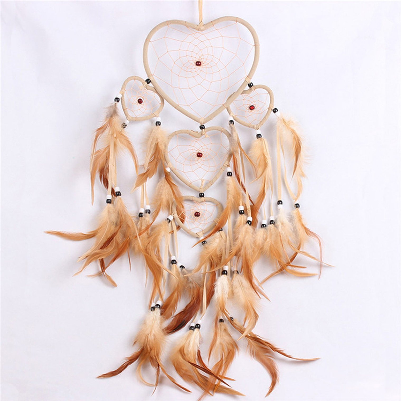 1 Pack Vintage Feather Bead Dream Catcher Ornament Gifts Mini Arts Craft Rainbow Owl Feathers Hanging Nursery Bedding Room Howling Popular Dreamcatchers Girls Bedroom Decor Car Wall Catchers Kit