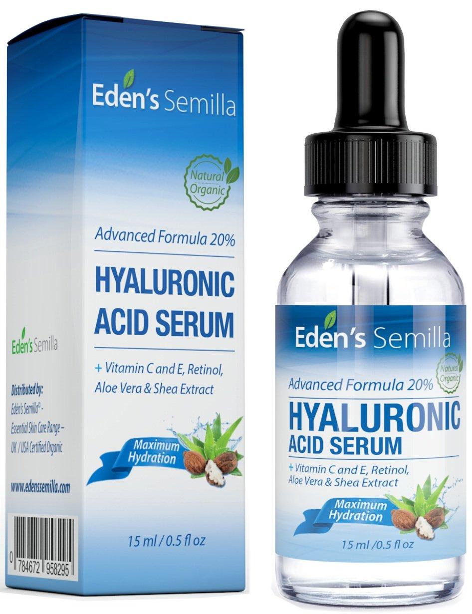 Sérum à l'Acide Hyaluronique 15ml - Un des meilleurs hydratants anti-âge. Repulpe et lisse les rides et ridules. Contient de la Vitamine C, du Rétinol, une Protection Antioxydante à la Vitamine E et un Booster de Collagène pour une peau plus radieuse, plus