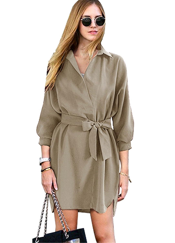 d60f6b602a445 Haroty Donna Vestito Lace Up Vestiti Larghi Tinta Unita Abito Camicia  Maniche Lunghe Estive  Amazon.it  Abbigliamento