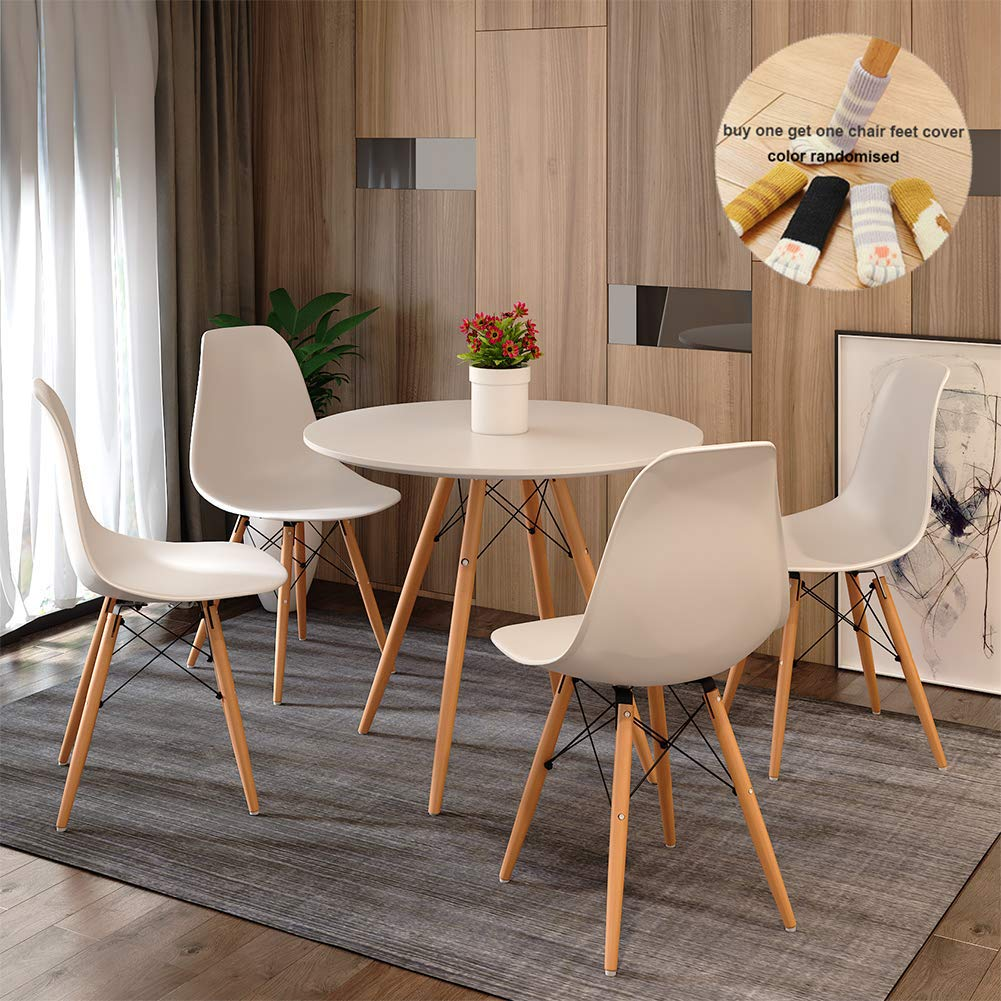 Round Dining Table And Chair Set 4 Eiffel Retro Style Small Round Table Chair With Wood Leg For Dining Room Modern Kitchen Furniture White