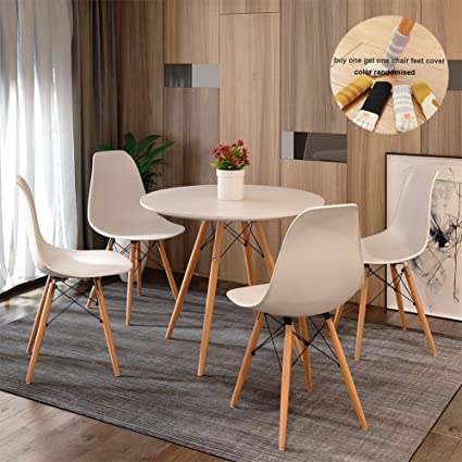 Round Dining Table and Chair Set 4 Eiffel Retro Style Small Round Table  Chair with Wood Leg for Dining Room Modern Kitchen Furniture(white ...