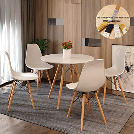 Outstanding Round Dining Table And Chair Set 4 Eiffel Retro Style Small Round Table Chair With Wood Leg For Dining Room Modern Kitchen Furniture White Home Interior And Landscaping Mentranervesignezvosmurscom