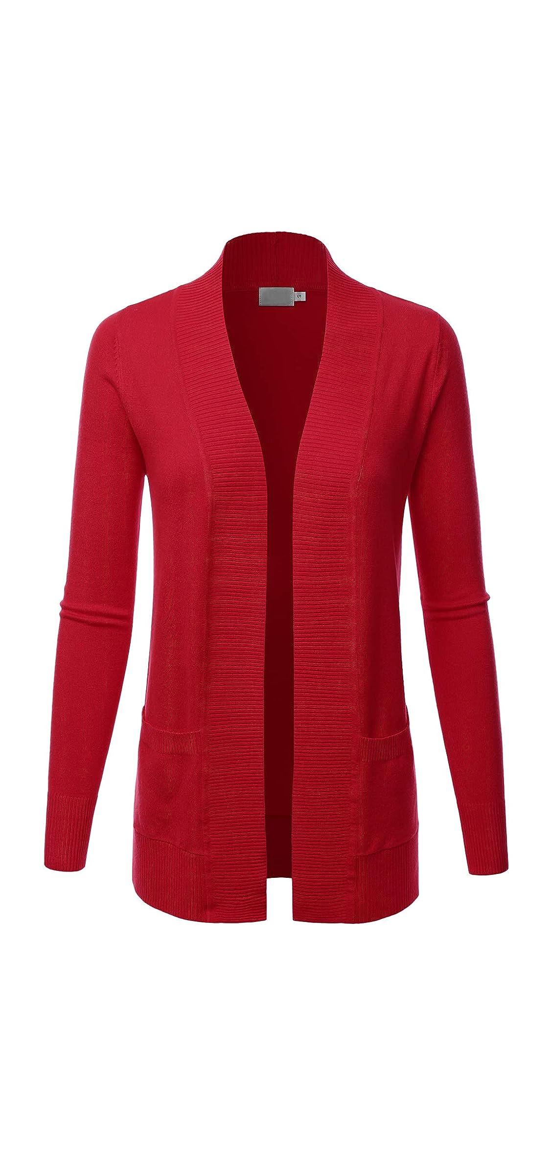 Women's Open Front Pockets Knit Long Sleeve Sweater