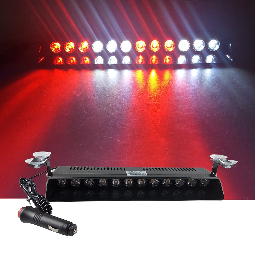 12LED, Blue 12V Car Truck Emergency Strobe Flash Light Sucker Dashboard Interior Windshield Warning Light Bar Current