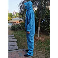 Reusable Protective Isolation Gown,EVA Waterproof Dust-Proof Raincoat,Work Clothes,Coveralls,Overalls,Blue,M