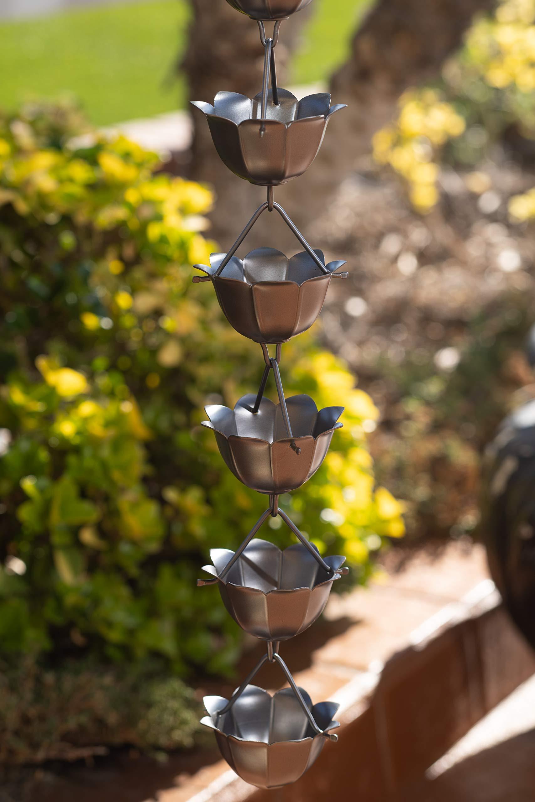 Monarch Rain Chains 18023 Aluminum Lotus Rain Chain, 8-1/2-Feet Length, Pewter by Monarch Rain Chains (Image #3)