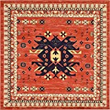 Classic Traditional Geometric Persian Design Area rugs Terracotta 8' x 8'...