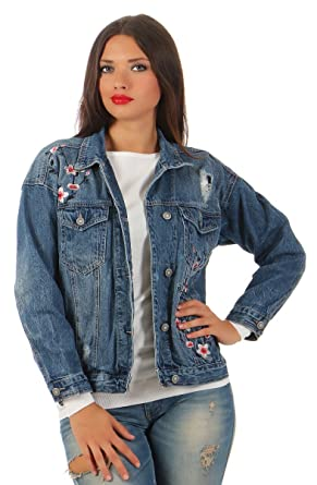 5880 MOZZAAR Damen Jeansjacke Damenjacke Jeans Jacke Streetlook Kurzjacke   Amazon.de  Bekleidung 480890ef6e