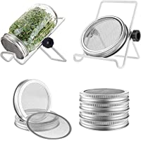 Seed Sprouting Jar Kit , Mouth Sprouting Jars with Screen Lids Stands and Trays, Seed Germination Kit for Growing…