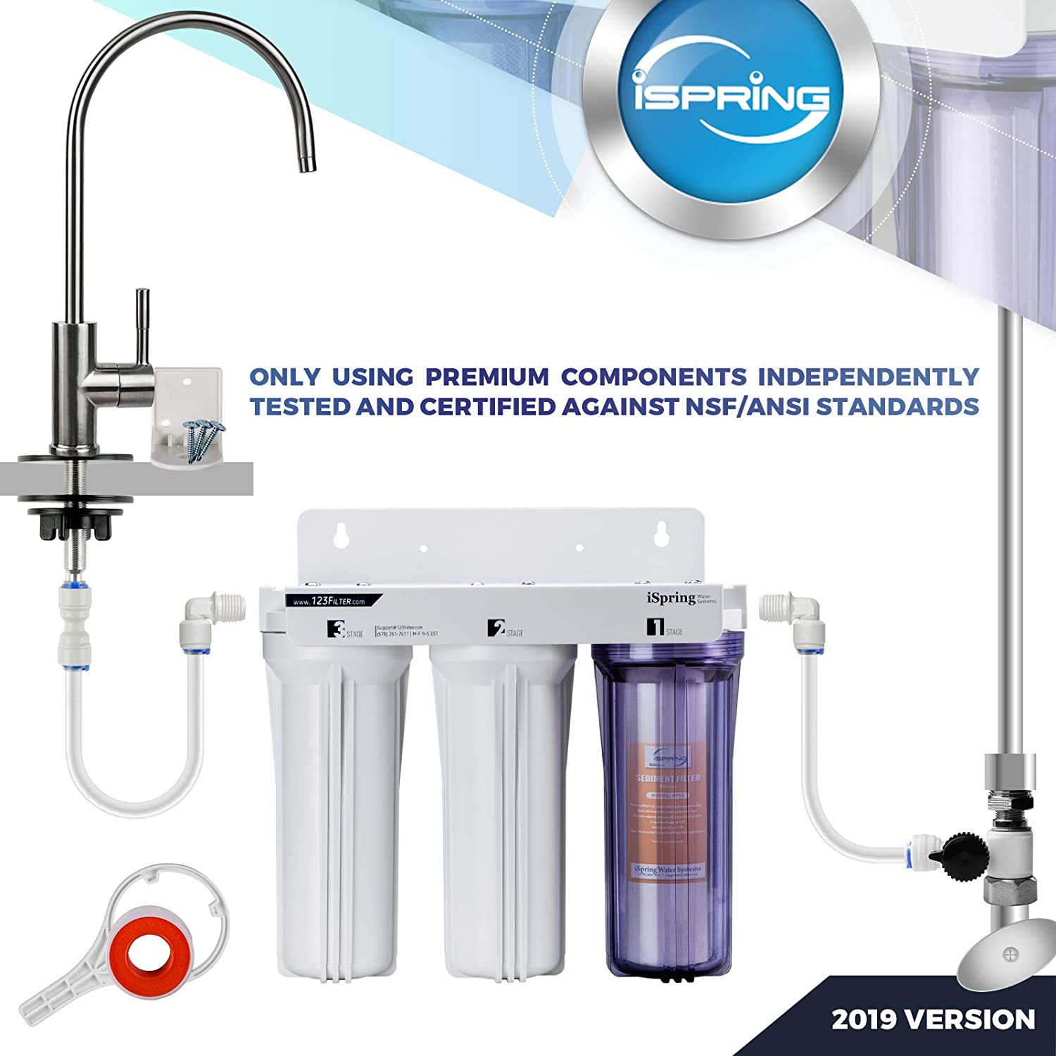 iSpring US31 3-Stage Under Sink Water Filter whole the system