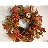 Autumn Treasures 22 Inch Fall Decorative Wreath Front Door Indoor Seasonal Autumn Home Decor