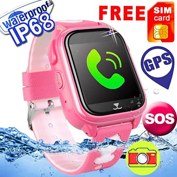 [Free Speedtalk SIM]Kids Smart Watch GPS Tracker Phone IP68 Waterproof Touch Screen Camera Smartwatch SOS Game Anti-lost Sport Outdoor Holiday Back ...