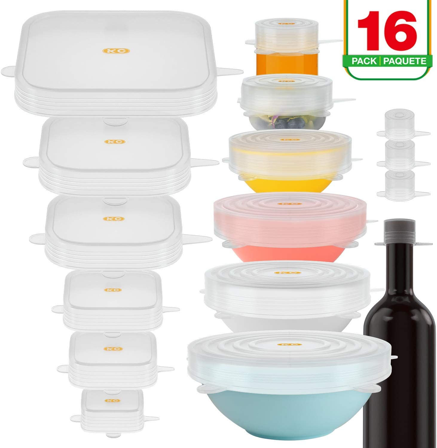 Miracle Silicone Stretch Lids 16 PACK Airtight Magic Stretchy Lids For Food Storage and Fresh Keeping, Reusable Silicone Food Covers Huggers For Containers Like Bowls Cans Jars Bottles Pots and Pans